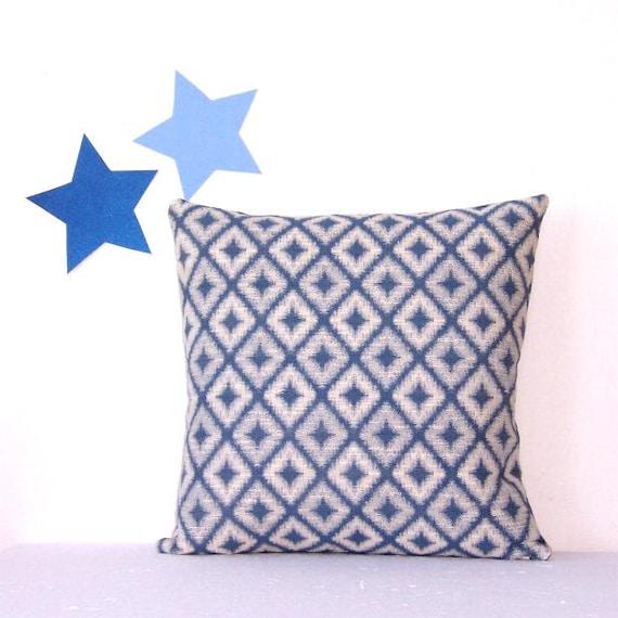 Blue And Cream Decorative Pillows : Blue Cream Decorative Pillow Cover 16 x 16 Cream