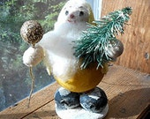 Vintage Spun Cotton Christmas Santa Elf Ornament, 1950's