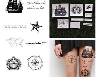 Set Sail - Temporary Tattoo Pack (Set of 18)
