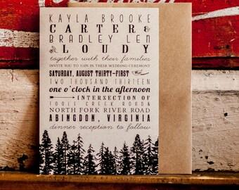 Tree Wedding Invitation, Rustic Wedding Invitation, Woodland Wedding invitation, eco friendly wedding invitation, kraft paper - Rustic Trees