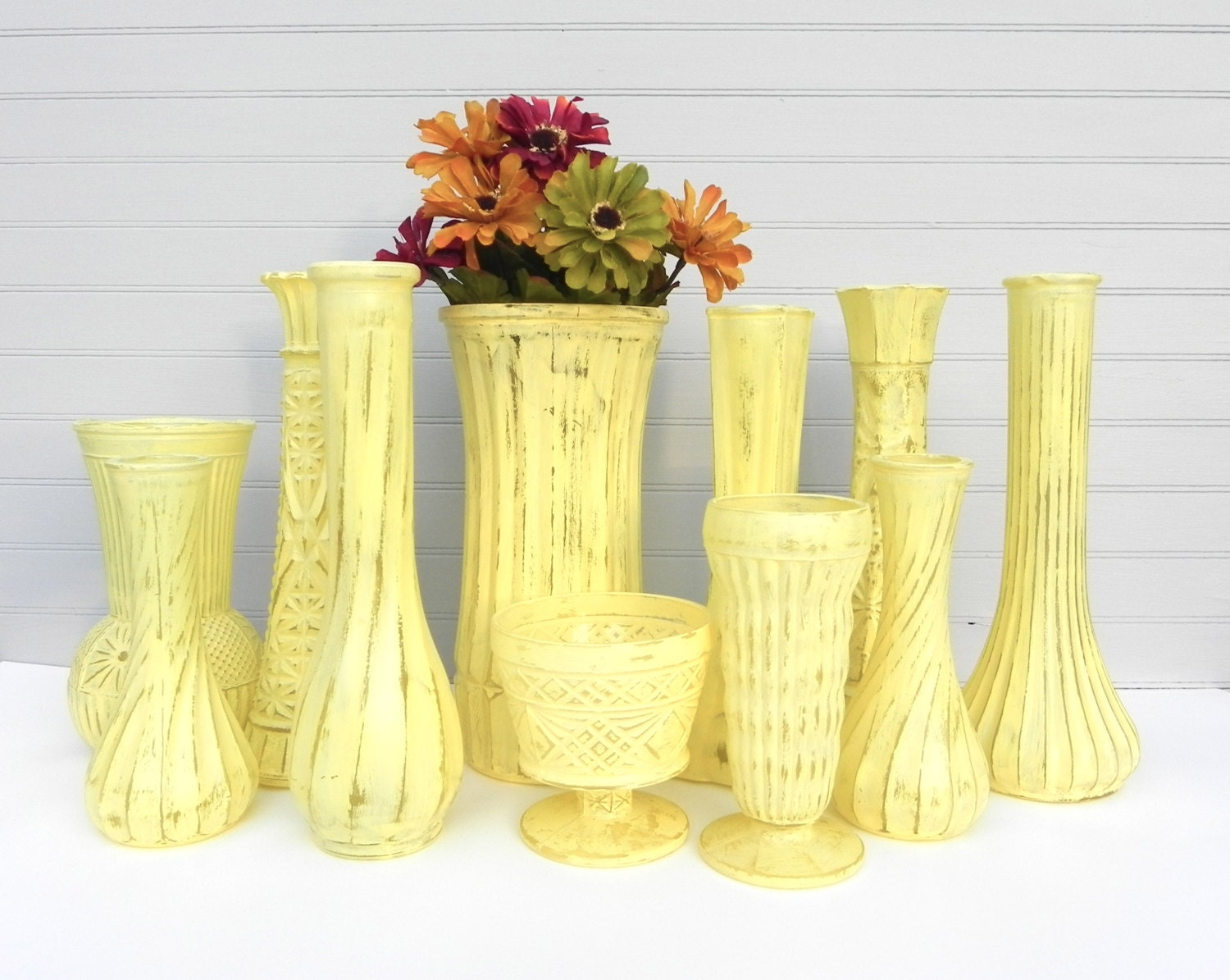 yellow shabby chic vase collection of vases for by. Black Bedroom Furniture Sets. Home Design Ideas