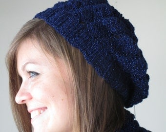 Navy Blue Scarkle Lace Beret
