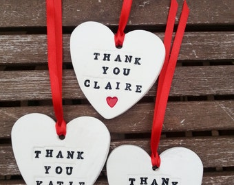 Personalised Clay Heart Wedding Favours/Personalised gift