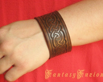 Medieval Celtic Knots Leather Cuff Bracelet