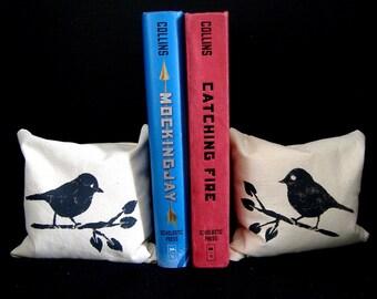Pair of Beanbag Bookends w Handpainted Birds