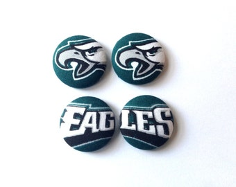 Philadelphia Eagles Fabric Covered Button Earring Size L