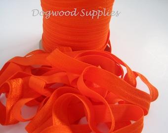 10 Yards FOE 5/8 Orange Elastic, Satin Elastic, Shiny Elastic, Baby Headband, FOE, Foldover Elastic, foe
