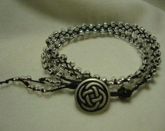 Beaded Bracelet Sparkling Silver Braided Double Wrap