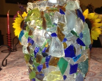 Large vase made from a salvaged clear vase with Applied Woods glass