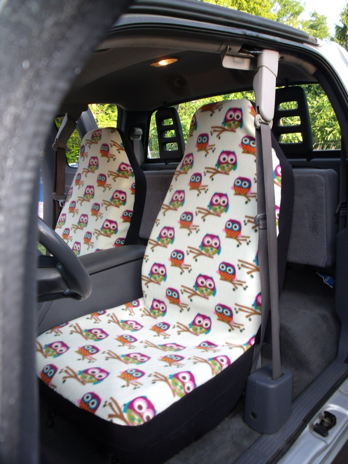 1 Set Of Yellow/Owls Print Custom Car Seat Covers