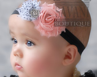 Baby headband,pink, black and white baby headband,vintage headband, shabby chic roses headband, girls headband #