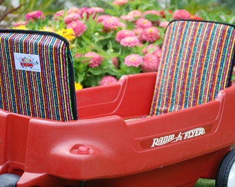 """Wagon seat cushion (micro stripes) for Radio Flyer wagons. Seat cushion measures 2 2""""x12"""" Price is for one cushion."""