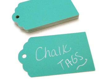 Chalkboard Tags - 20 Count - Turquoise Chalkboard Tag - Scallop Tag - Chalk Tags - Wedding Favor Tag - Baby Shower Tags - 3.0 x 1.75 in