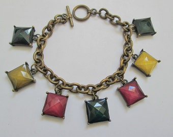 1970's Toggle Bracelet With Green, Red, And Gold Faceted Squares