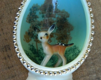 Walt Disney Productions Bambi with Hand Painted Forest Scene Egg / Bone China Japan Figural Disneyana