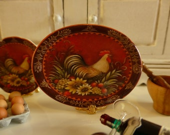Le Provence Rooster Porcelain Dollhouse Miniature Tray
