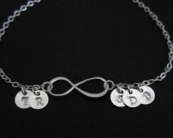 Infinity Bracelet. 5 Initial Bracelet. Custom Sterling Silver Bracelet. 5 Silver Charm Bracelet.Personalized Family Jewelry. Gift for Mom