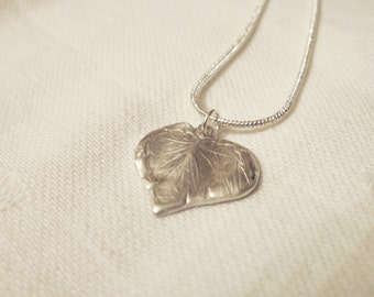 Heart shaped Leaf Silver Pendant