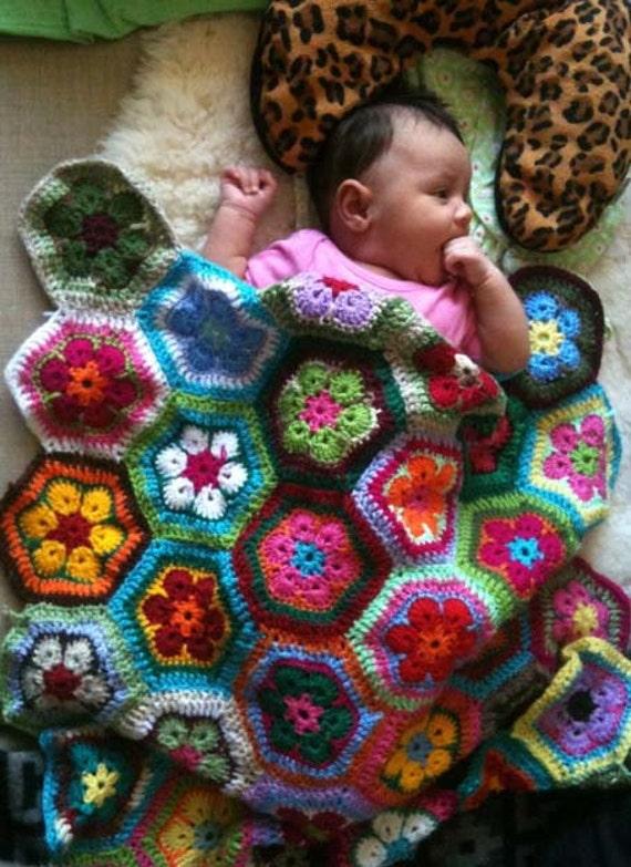 African Flower Crochet Baby Blanket Pattern : Items similar to African Flower Crochet Afghan Baby Pram ...