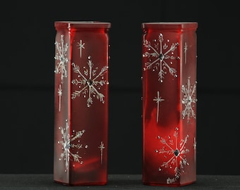 "7 1/2 x 2""  Handpainted Red Bud Vase/ Candle Holder /  Sparkling Snowflakes With Crystals"