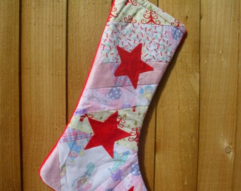 Pink Allsorts Christmas / Holiday Stocking with red felt stars. Patchwork stocking. Item No. 0235
