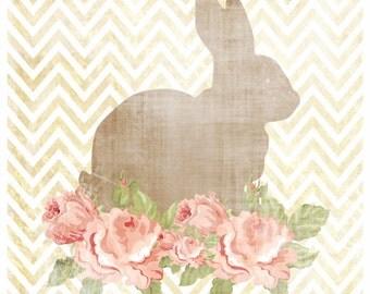 Chevron Rabbit Silhouette Print - Vintage Floral