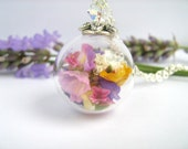Real Flower Necklace, Real Flower Jewelry, Glass Globe Pendant, Real Dried Flowers, Mothers Day, Birthday Gift