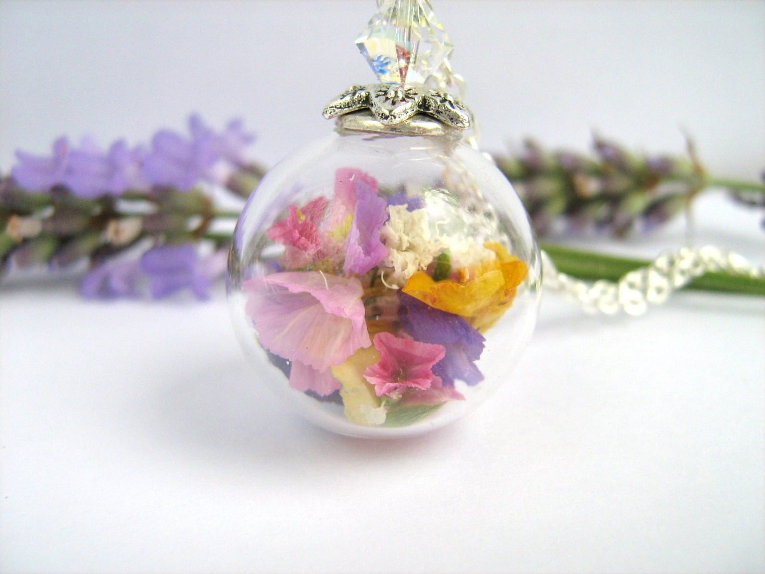 Real Flower Necklace Real Flower Jewelry Glass Globe