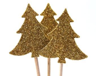 20 Golden Christmas tree, Topper, Toothpicks, Party Glitter, Picks, Cupcake Topper, Baby Shower Decoration, Birthday Pick Glitter