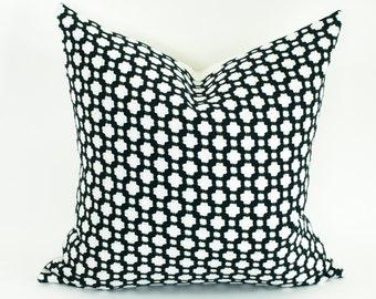 """Schumacher BETWIXT Designer Pillow Cover in Black, Accent Pillow, Decorative Lumbars, Toss Pillow, Throw Pillow 16"""", 18"""", 20"""", 22"""", 24"""" sq."""