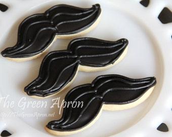 24 (two dozen)  Mustache Sugar Cookies