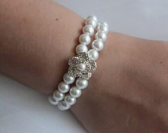 Wedding Bracelet, Wedding Pearl Bracelet,  Bridal Bracelet, Fine Jewelry Bracelet, Crystal Bracelet, Bridesmaid Bracelet
