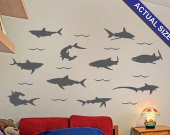 Sharks Wall Decal - 10 piece Vinyl Wall Decal Set - Great White Shark