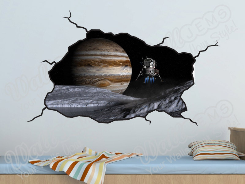 Space planets wall decal kids bedroom vinyl wall decal for Outer space vinyl wall decals