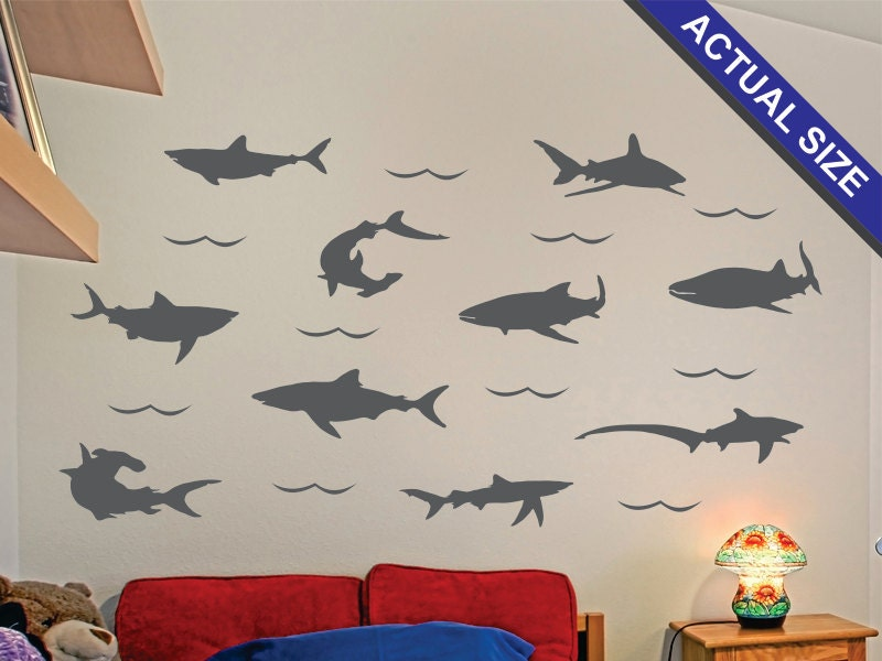 sharks wall decal 10 piece vinyl wall decal set great. Black Bedroom Furniture Sets. Home Design Ideas