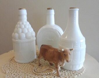 Set of 3 Vintage Wheaton Reproduction Milk Glass Bitters Bottles