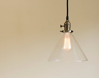 "Vintage Style Clear 9"" Glass Cone Pendant Fixture"
