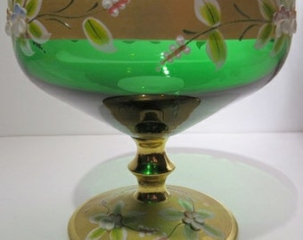 Bohemian Glass Etched Emerald Compote