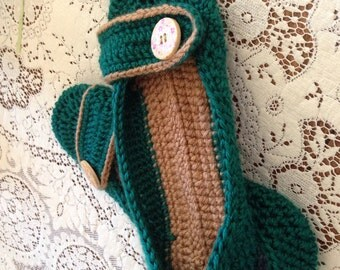 Green Mary Jane Crochet Slippers