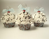 Blue Demask Fake Cupcake Ornament with White Frosting and Chocolate Sprinkles