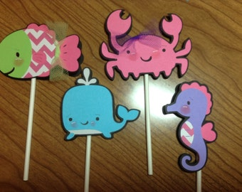 Girly Under the Sea Cupcake Toppers