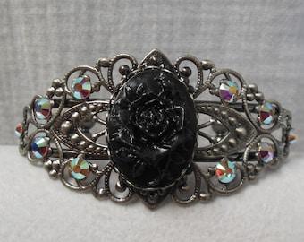Black Rose Cameo Antique Silver Filigree Bracelet. . Hand Painted . AB Swarovski Crystal accents.