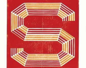 A two colour linocut decorative letter S.