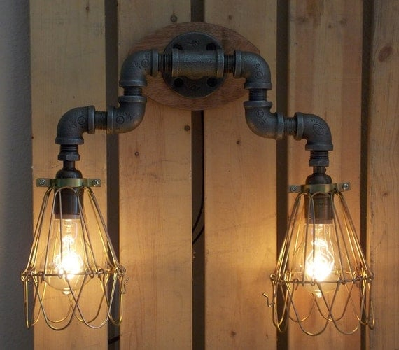 Industrial Vanity: Items Similar To Industrial Wall Vanity Light On Etsy
