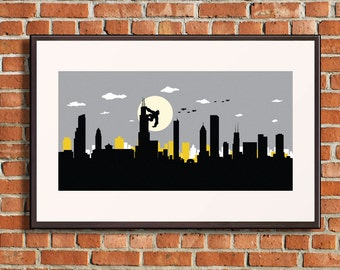 Chicago skyline, Chicago print, Chicago art, Chicago poster, Chicago Illinois, King Kong inspired print, King Kong art, King Kong poster