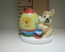 EASTER Bunny Rabbit Eggs Artist Painting and Egg Bunnies Rabbits  -  French Feve Feves Porcelain Figurines  Doll House Miniatures L9