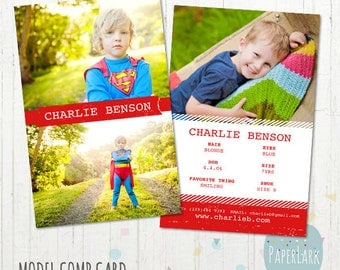 Model Comp Card - Photoshop template - AM002 - INSTANT DOWNLOAD