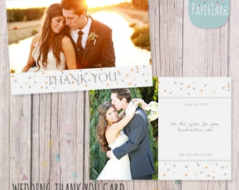 Wedding Thank You Card - Photoshop template - AW011 - INSTANT DOWNLOAD