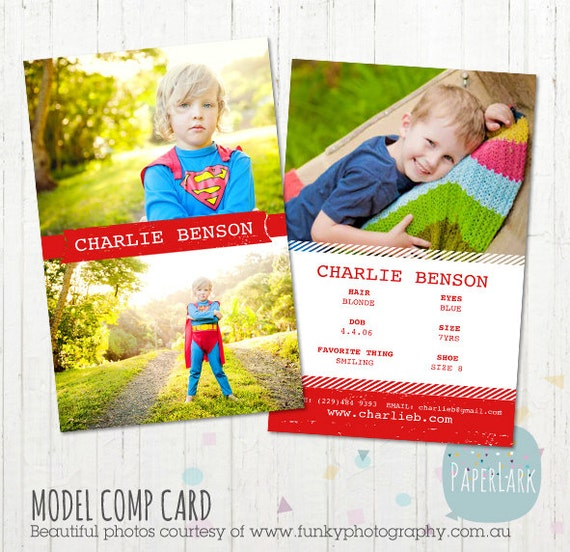 Model comp card photoshop template am002 instant for Free comp card template