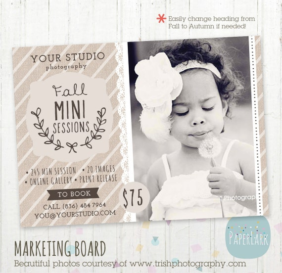 Photography marketing board fall autumn mini by paperlarkdesigns for Free mini session templates for photography